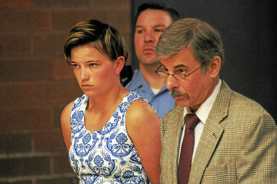 Danielle Shea of Quincy, Mass., appears in court on May 19 with attorney Mark Buebendorf. Shea appeared again June 2 at state Superior Court in Meriden and had her case continued until July 7. Photo: Patrick Raycraft — Hartford Courant — Pool Photo  / 20100519\B583743015Z.1