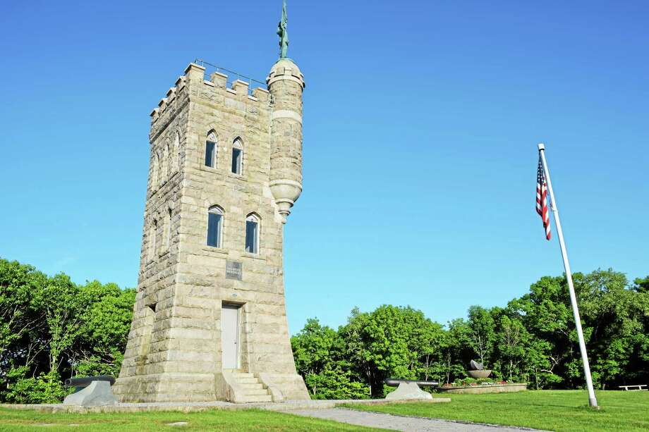 The civil war monument, erected on Crown Street, is to commemorate civil war veterans. The years 1861 and 1865 adorn the statue. Photo: Ryan Flynn — The Register Citizen