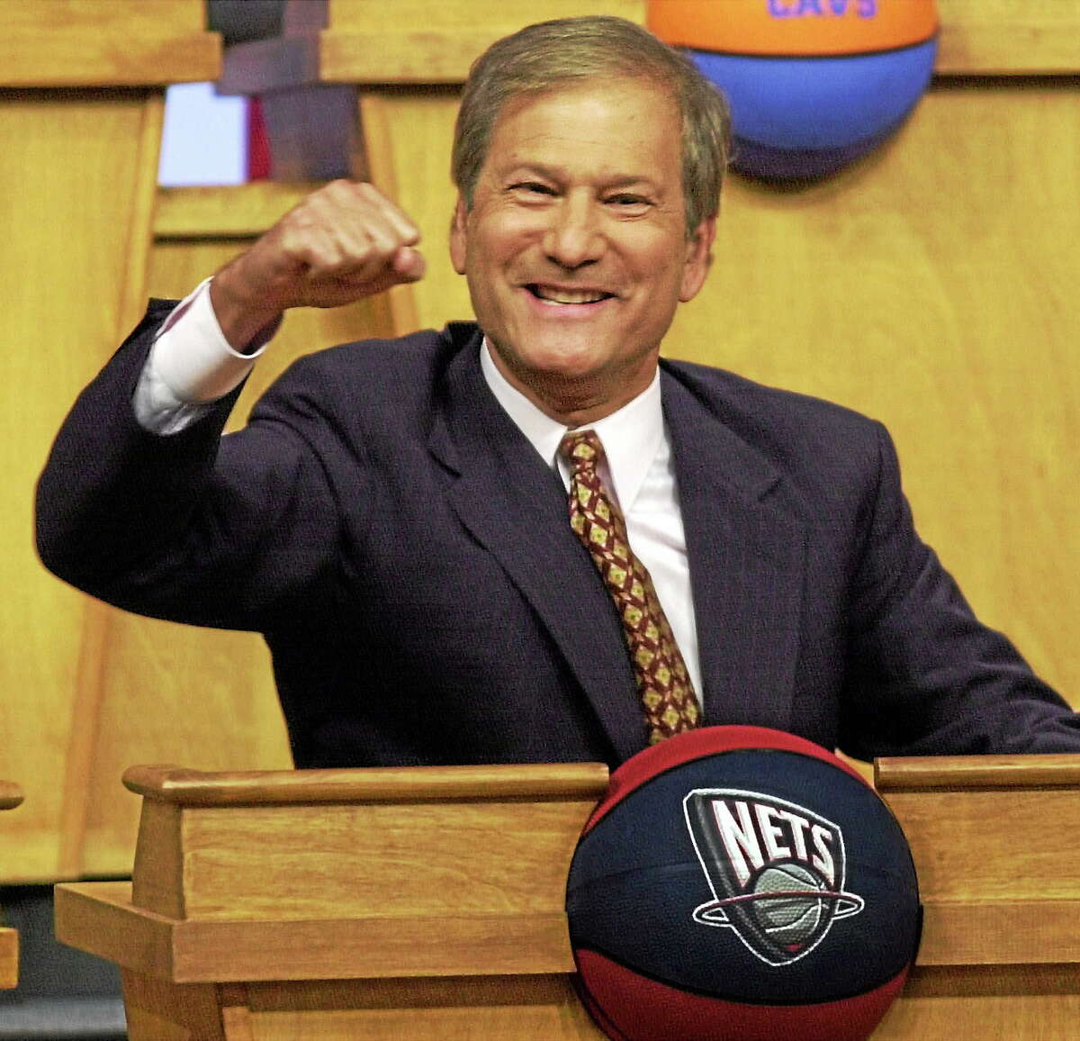 In this May 21, 2000 photo, New Jersey Nets owner Lewis Katz reacts as the Nets received the first pick in the NBA draft at the NBA Draft Lottery in Secaucus, N.J. The editor of The Philadelphia Inquirer says co-owner Lewis Katz is among the seven people killed in a plane crash in Massachusetts.