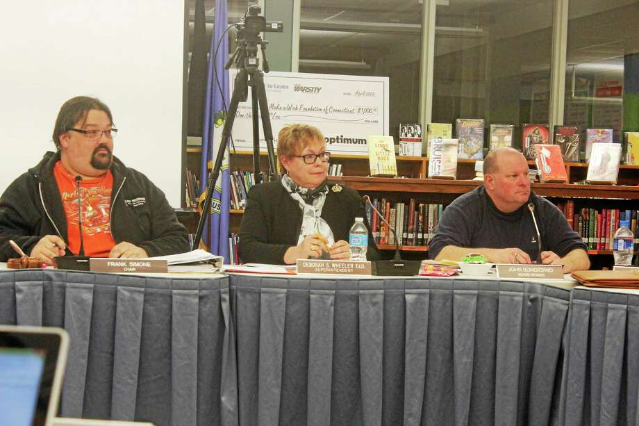 Members of the Litchfield Board of Education seen during their meeting Wednesday night. Photo: Shako Liu—The Register Citizen