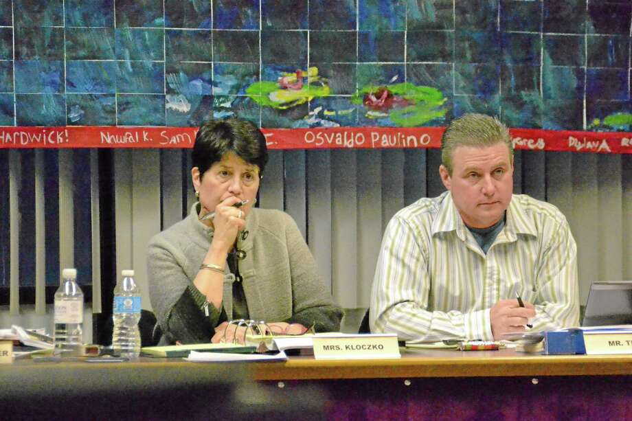 Superintendent of Schools Cheryl Kloczko and Board of Education chairman Ken Traub at a board meeting in March 2013. Photo: File Photo