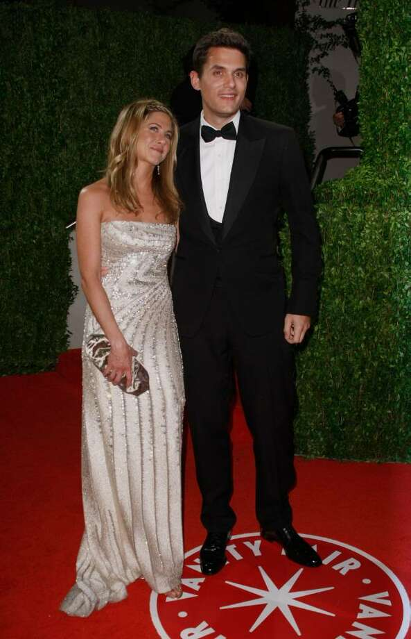 Actress Jennifer Aniston and singer John Mayer started dating in 2008. They were on and off again for months. Here they are at the 2009 Vanity Fair Oscar Party hosted by Graydon Carter held at the Sunset Tower on February 22, 2009 in West Hollywood, California. They officially broke up shortly after the Oscars. (Photo by Michael Buckner/Getty Images)  Photo: Michael Buckner, Getty Images / 2009 Getty Images