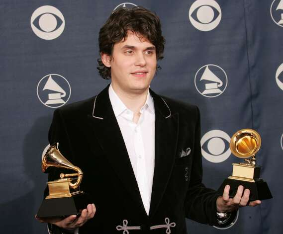 "LOS ANGELES, CA - FEBRUARY 13:   John Mayer poses backstage with his awards for ""Song of the Year"" and ""Male Pop Vocal Performance"" during the 47th Annual Grammy Awards at the Staples Center February 13, 2005 in Los Angeles, California.  (Photo by Carlo Allegri/Getty Images) Photo: Carlo Allegri, Getty Images / 2005 Getty Images"