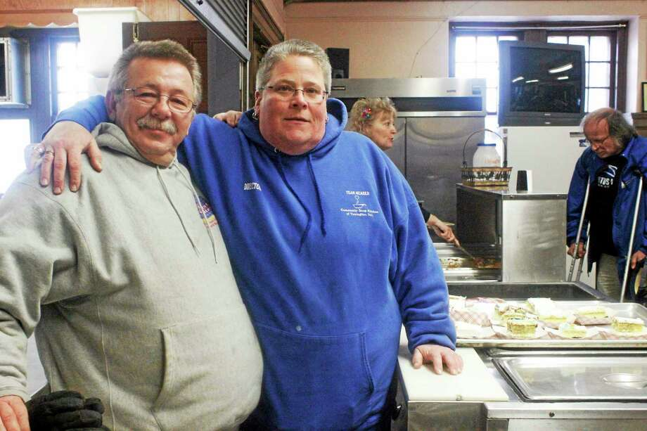 Yar Mouth(left) and Lisa Hageman(right) at the Soup Kitchen in Torrington. Photo: Shako Liu — Register Citizen