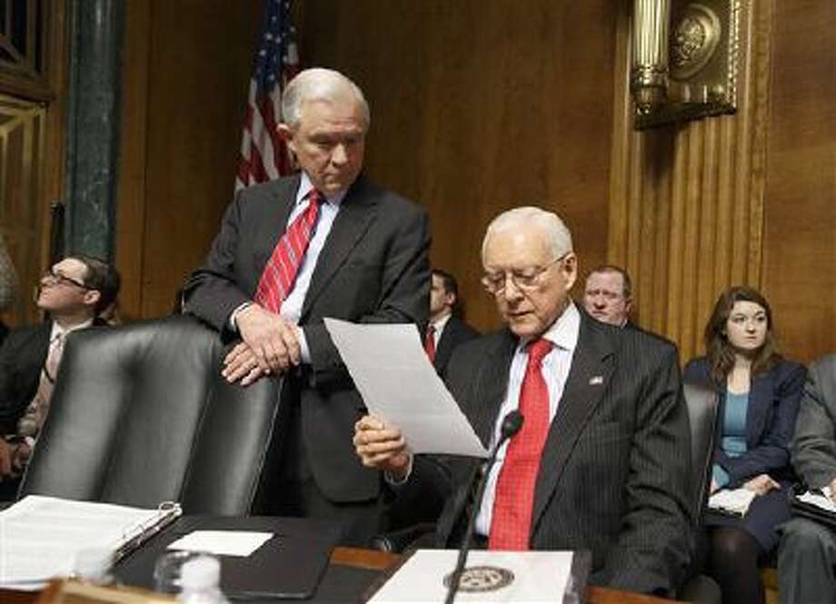 Sen. Orrin Hatch, R-Utah, right, and Sen. Jeff Sessions, R-Ala., left, members of the Senate Judiciary Committee, wait for a hearing on Capitol Hill in Washington. Photo: AP / AP