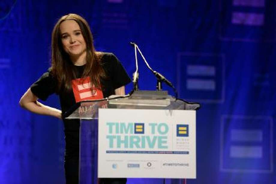 Actress Ellen Page comes out as gay at the Human Rights Campaign's Time to Thrive Conference, on Friday, Feb. 14, 2014 in Las Vegas.