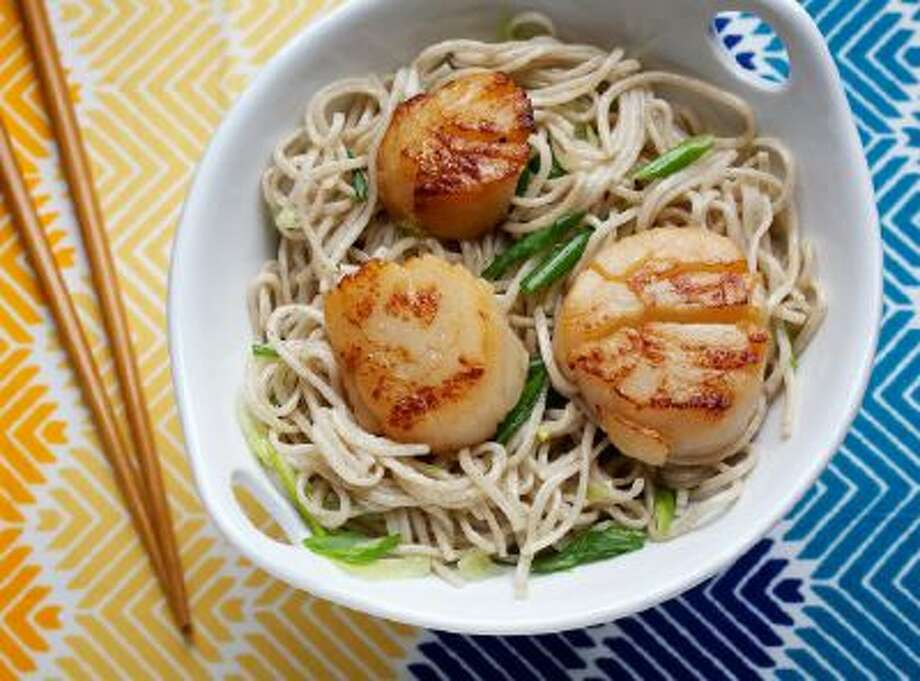Miso-Marinated Scallops on Soba Noodles.