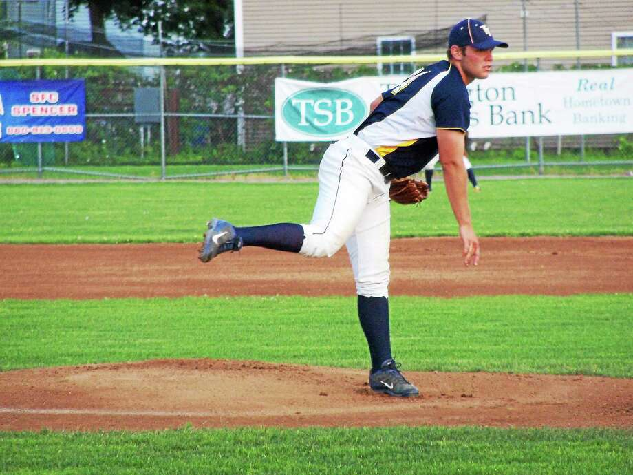 Torrington Titans starter Brett Susi gave up just four hits in five innings while the Navigators scored four unearned runs in the first four innings. Susi struck out three and walked four. Photo: Peter Wallace — Register Citizen