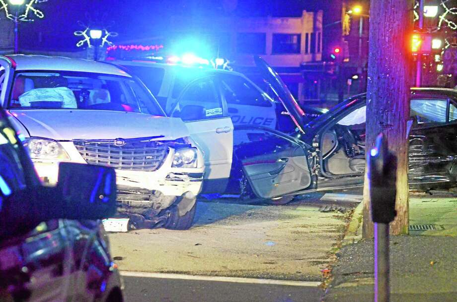 A two-vehicle accident on Water St. in Torrington Monday night resulted in only minor injuries, though rescue workers had to help extract one driver due to damage from the impact.John Berry - Register Citizen Photo: Journal Register Co.