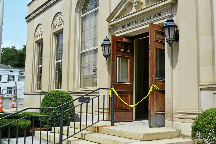 Interior work is in progress at the former Winsted Savings Bank property, where Ralph Nader plans to put his American Museum of Tort Law. Photo: Ryan Flynn — The Register Citizen