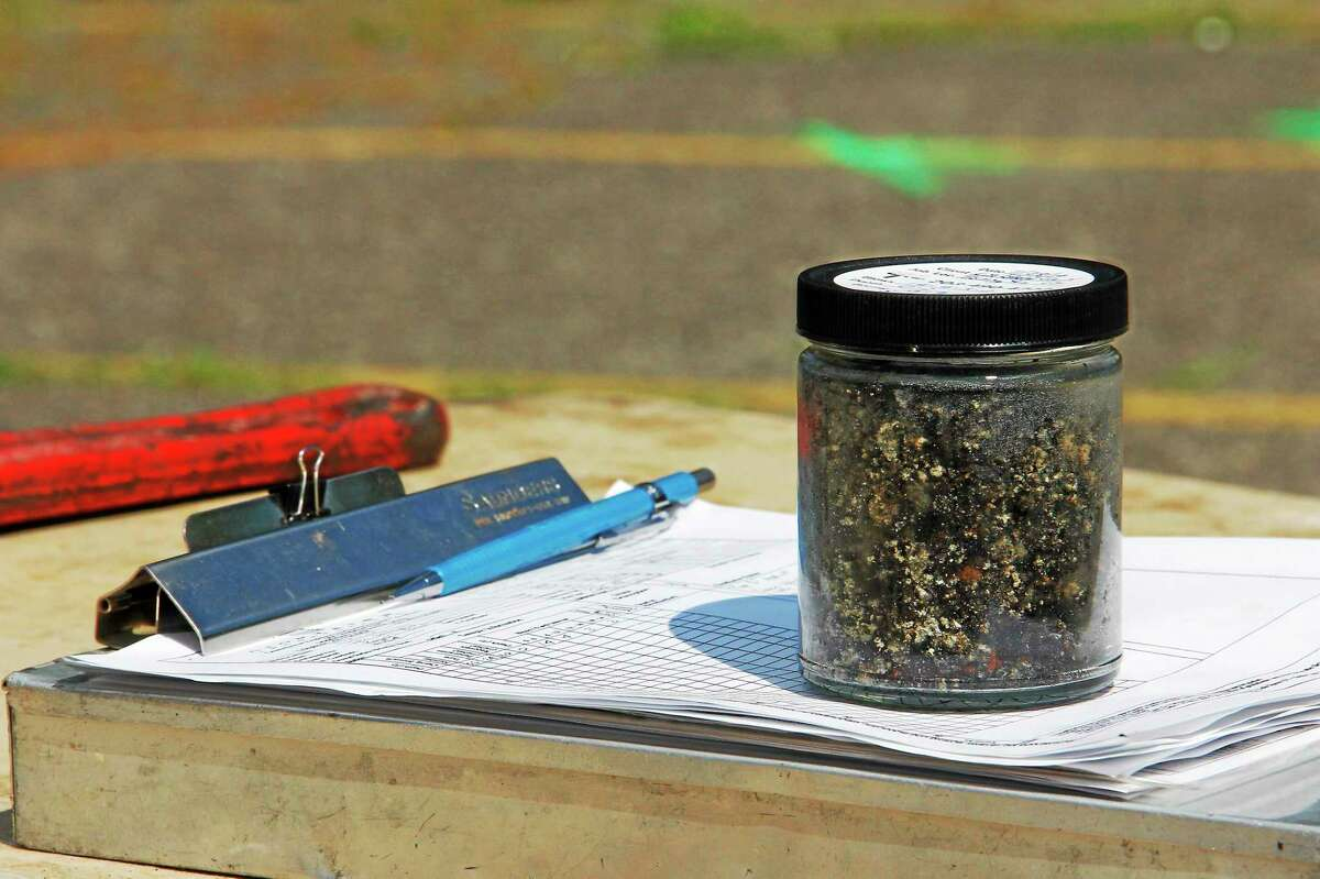 A soil sample taken from a drilling site on the Field Street parking lot.