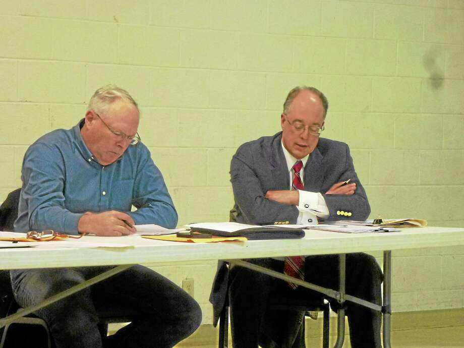 Selectman Jeffrey Zullo (left) and the rest of the board listened to Robert D'Andrea of Stedronsky & D'Andrea give his legal breakdown of the issue. Photo: Ryan Flynn—Register Citizen