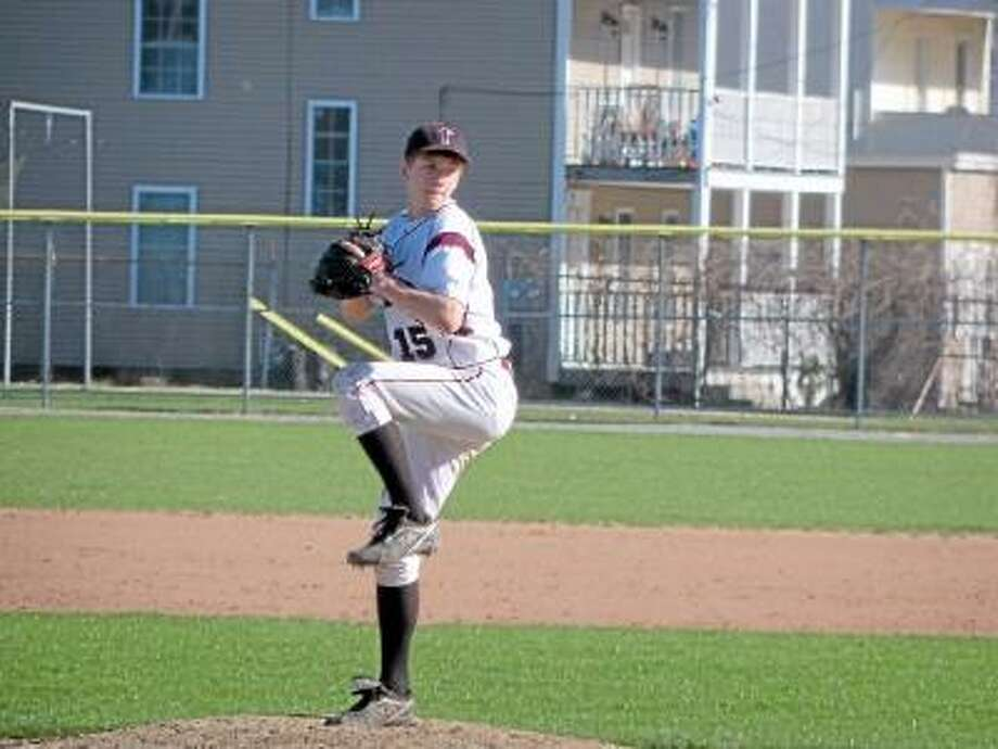 Torrington freshman Nate Manchester made his first start for the Red Raiders getting the win in Torrington's 7-5 win over Naugatuck. Photo by Peter Wallace/Register Citizen