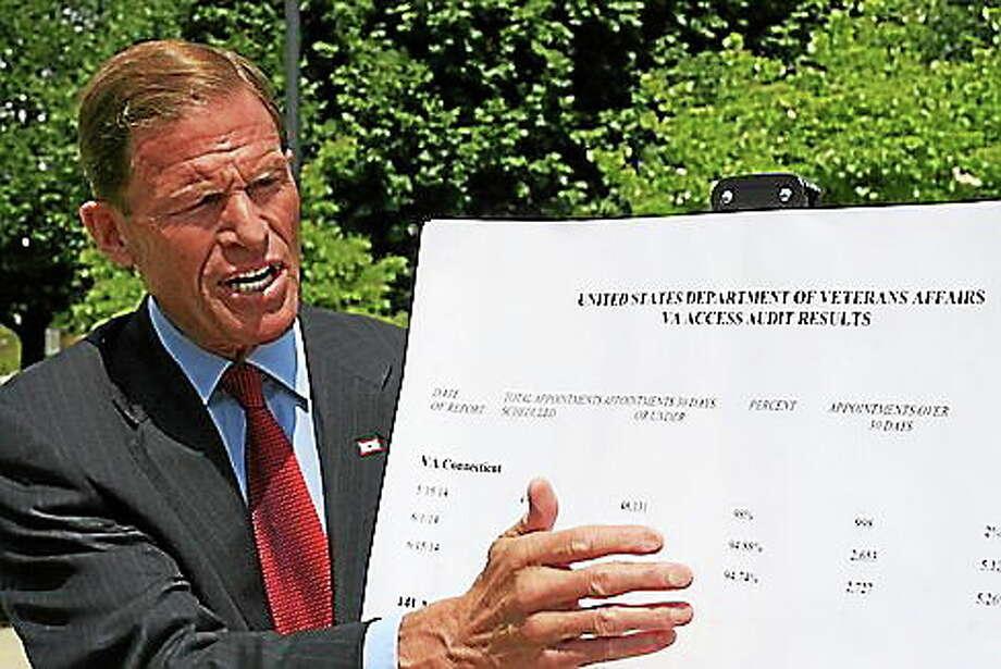 "Hugh McQuaid — <a href=""www.ctnewsjunkie.com"">CT News Junkie</a> file photo U.S. Sen. Richard Blumenthal. Photo: Journal Register Co."