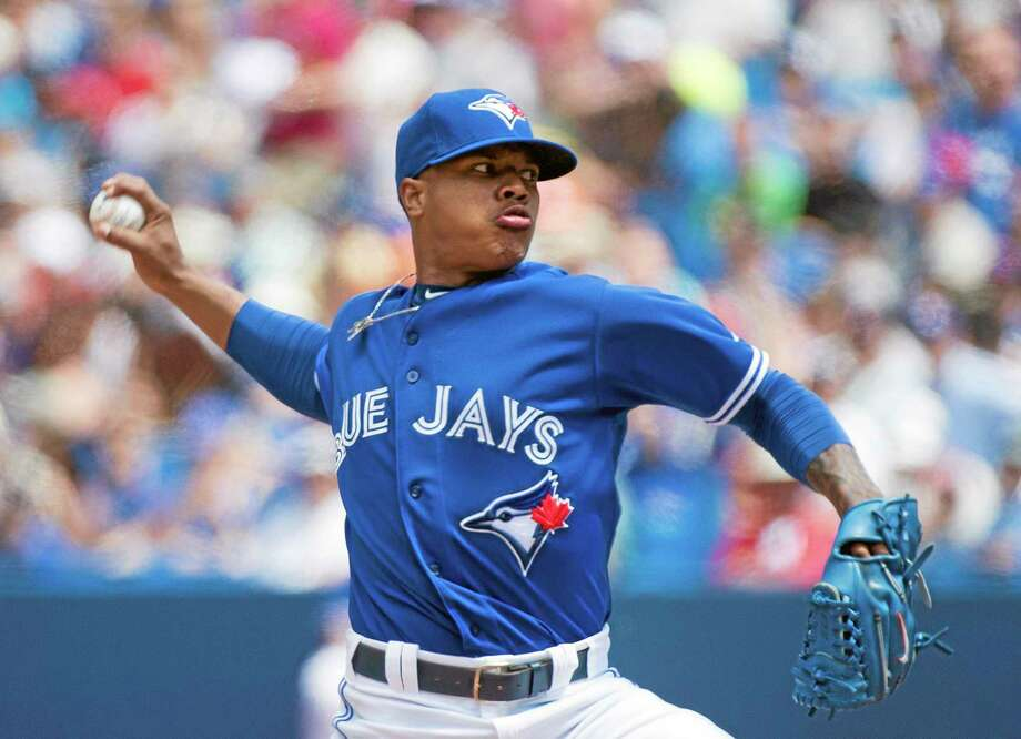 Blue Jays starter Marcus Stroman works against the Boston Red Sox during the first inning Thursday in Toronto. Photo: Nathan Denette — The Canadian Press  / CP