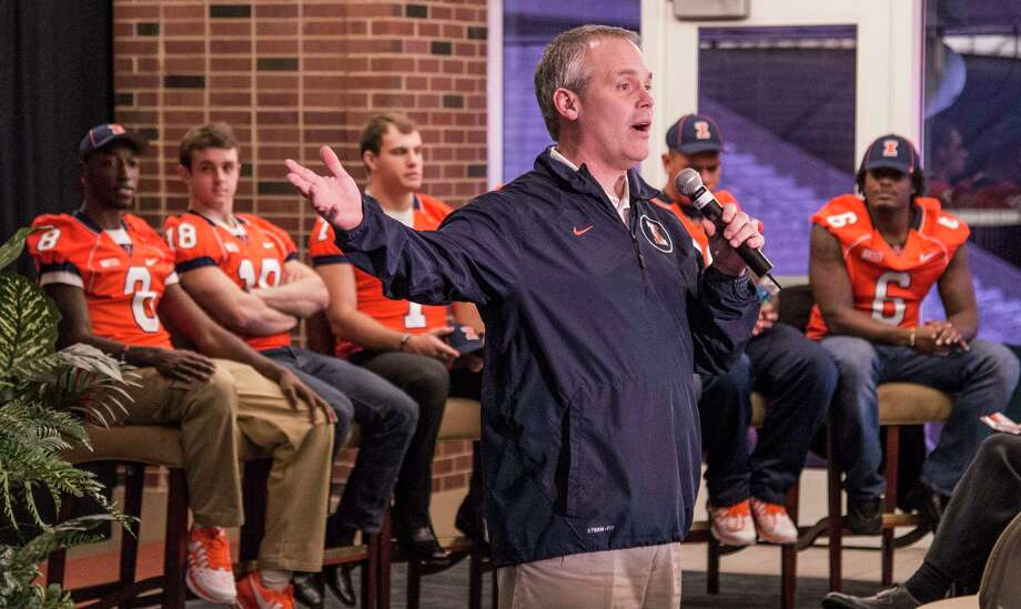The UConn football team will face Illinois in a home-and-home series in 2019 and 2020. How far off in the future is that? The recruits being introduced here last week by Illini coach Tim Beckman, from left, Geronimo Allison, Mike Dudek, Chayce Crouch, Joe Fotu and Paul James, will need a sixth year of eligibility to ever face the Huskies. Photo: Robin Scholz — The News-Gazette  / The News-Gazette