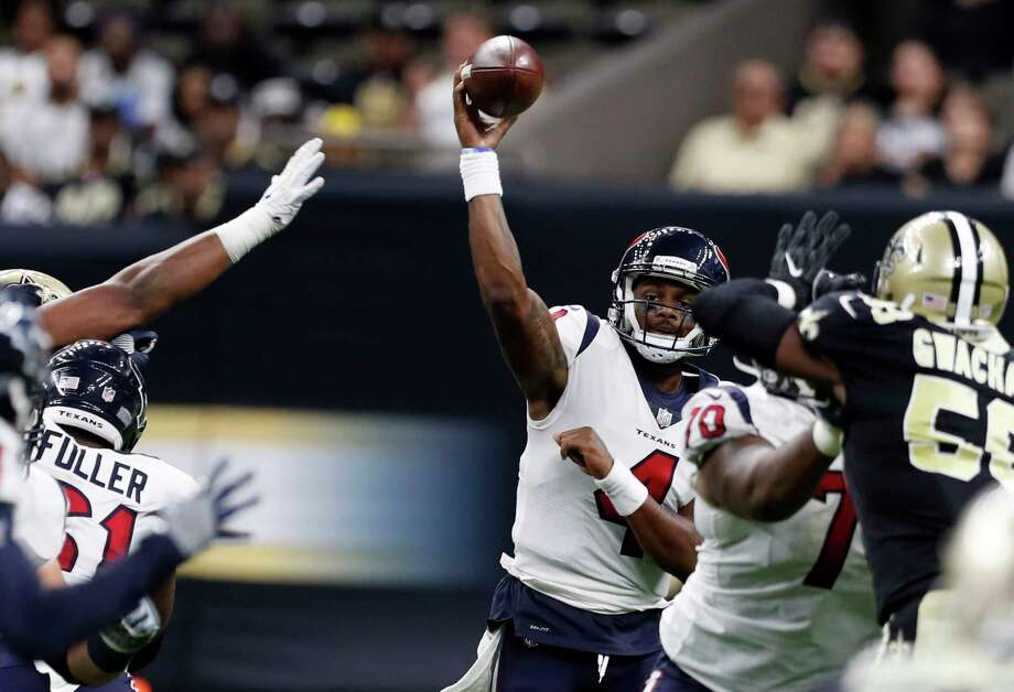 Quarterback Deshaun Watson struggled against a strong Saints defense, including a pass rush that generated two sacks and forced him into some quick decisions. Photo: Brett Coomer, Staff / © 2017 Houston Chronicle