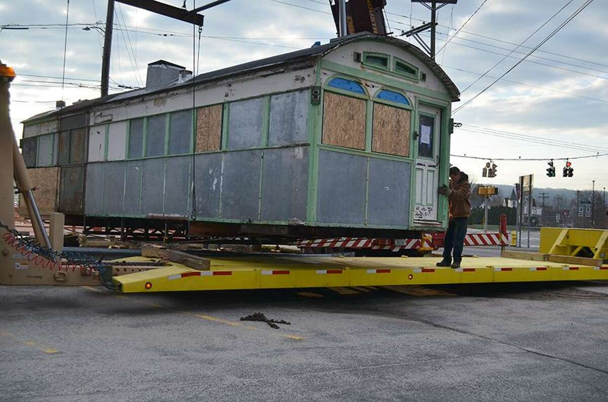 Skee's Diner was moved Sunday morning by the Torrington Preservation Trust. The plan is to restore it while in storage and then move it to its new home. John Berry/Register Citizen.