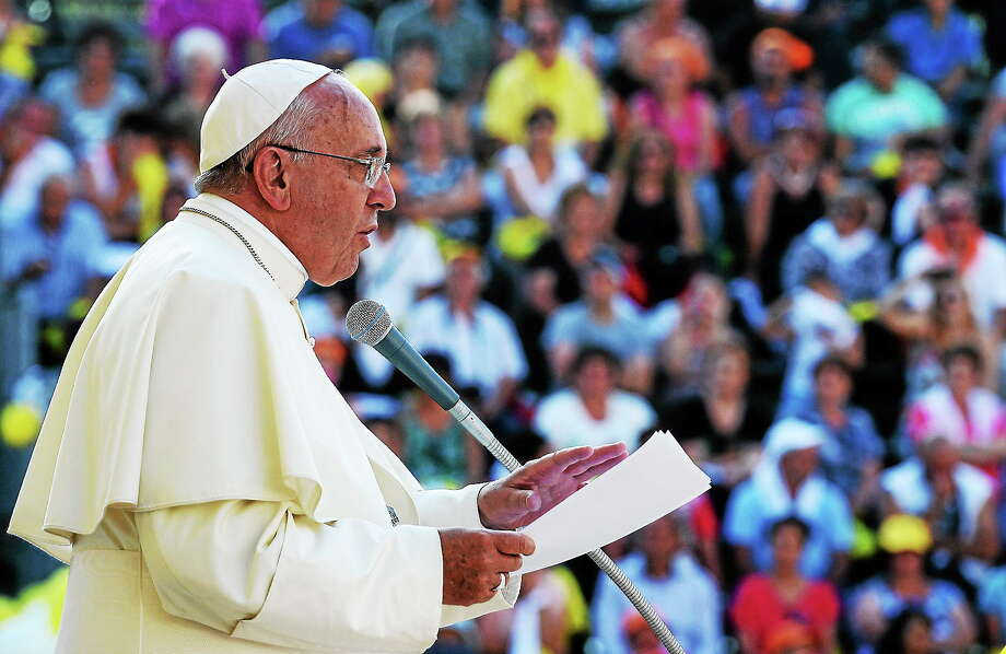 Pope Francis delivers his speech in front of Isernia's cathedral, southern Italy on July 5, 2014. Photo: AP Photo/Salvatore Laporta  / AP
