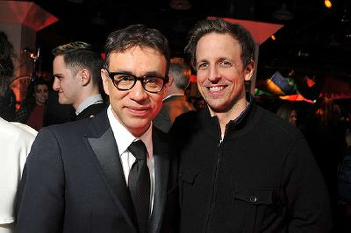 Actors Fred Armisen and Seth Meyers attend the 'Portlandia' season 2 premiere screening at the American Museum of Natural History on January 5, 2012 in New York City.