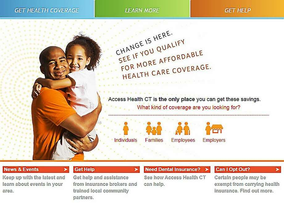 A screenshot of the Access Health CT homepage. Photo: Journal Register Co.