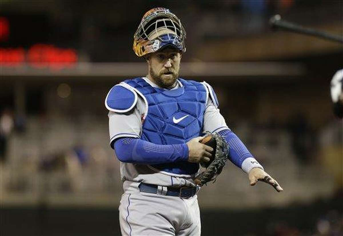 New York Mets' John Buck is shown during a baseball game against the Minnesota Twins Friday, April 12, 2013 in Minneapolis. (AP Photo/Jim Mone)