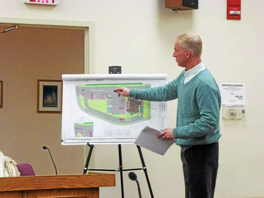 Engineer Todd Parsons presented the revised site plan to the Planning and Zoning Commission Monday night. Photo: Ryan Flynn—Register Citizen