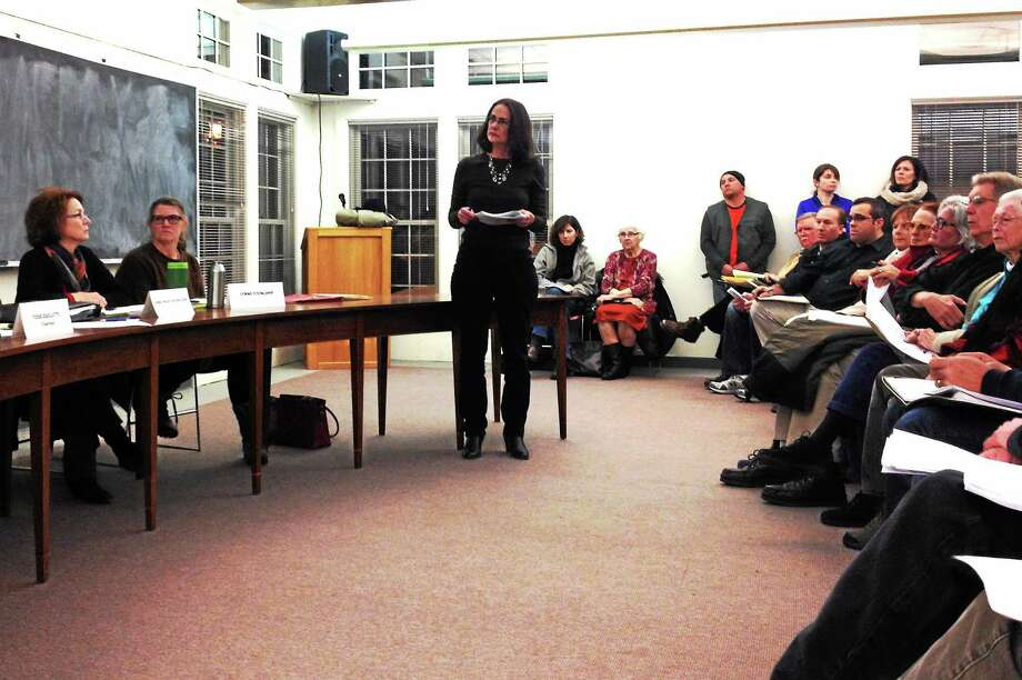 Harwinton resident Robin Turpin addresses the Zoning Commission Monday. Photo: Kate Hartman—Register Citizen