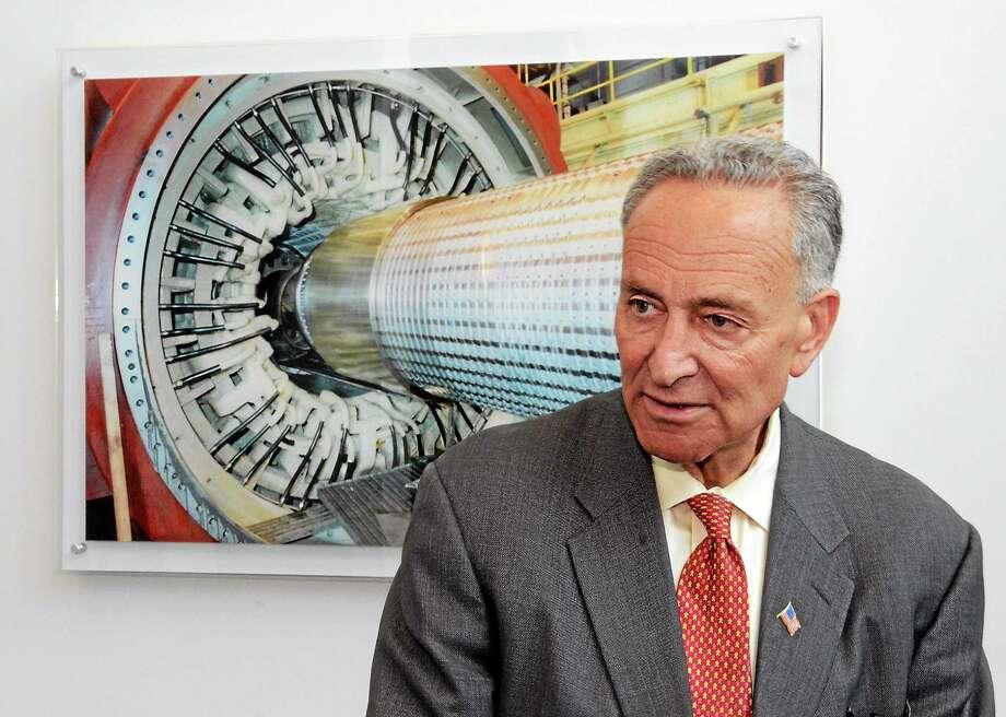 Sen. Charles Schumer speaks at General Electric in Schenectady, N.Y. on July 14, 2014. Photo: AP Photo/The Daily Gazette, Marc Schultz  / The Daily Gazette