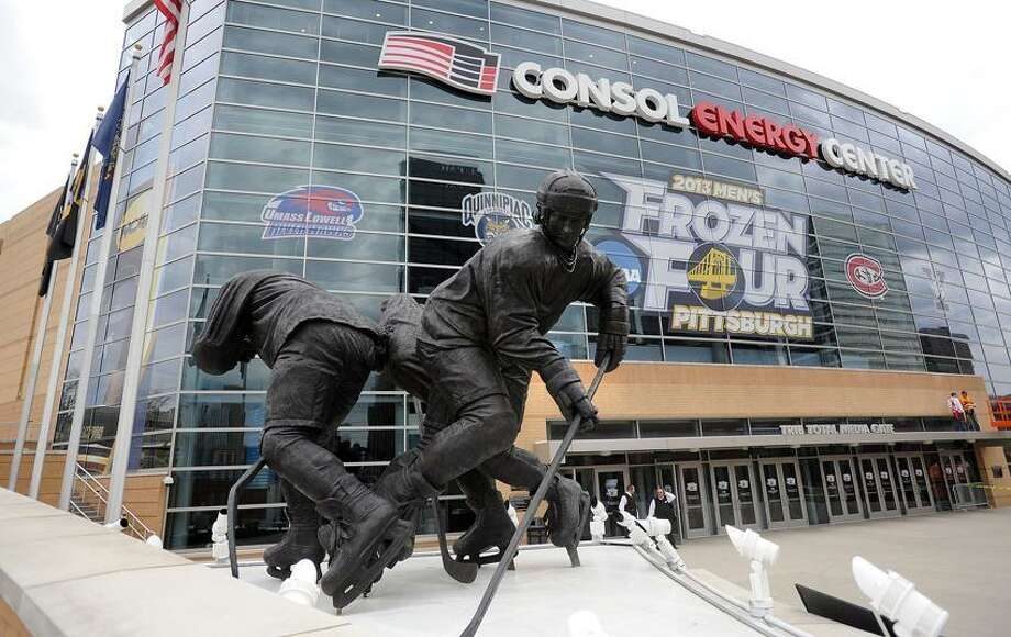 """Pittsburg, PA-- The outside of the Consol Energy Center, where Quinnipiac and Yale will both play Thursday in the final """"Frozen"""" Four.  Photo-Peter Casolino/Register <a href=""""mailto:pcasolino@newhavenregister.com"""">pcasolino@newhavenregister.com</a>"""