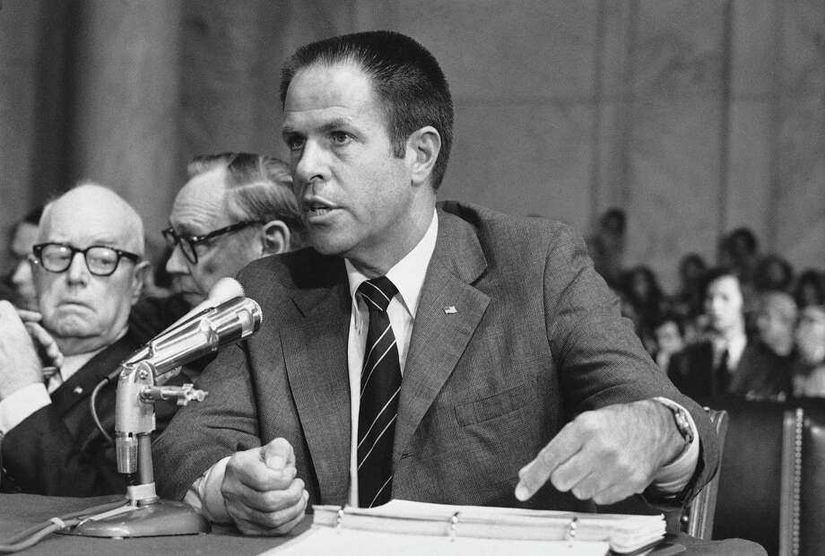 FILE - In this July 31,1973, file photo, H.R. Haldeman, a former top aide to President Richard Nixon, testifies before the Senate Watergate Committee in Washington. The Richard Nixon Presidential Library & Museum is declassifying and releasing 285 segments from an audio diary kept by Haldeman, from 1970 to 1973. Photo: (AP Photo/File) / AP
