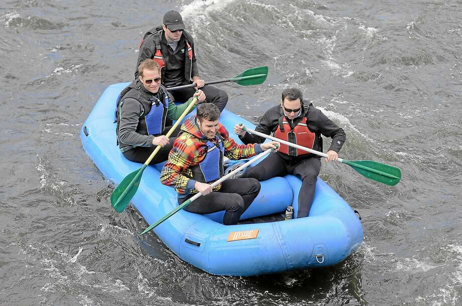 Rafters on the Housatonic River last Saturday near the covered bridge in West Cornwall. Photo: Journal Register Co.