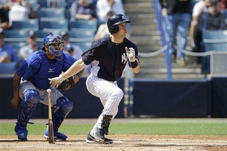 New York Yankees' Mark Teixeira in action during a spring training exhibition baseball game against the Toronto Blue Jays, Thursday, Feb. 28, 2013, in Tampa, Fla. (AP Photo/Matt Slocum) Photo: ASSOCIATED PRESS / AP2013
