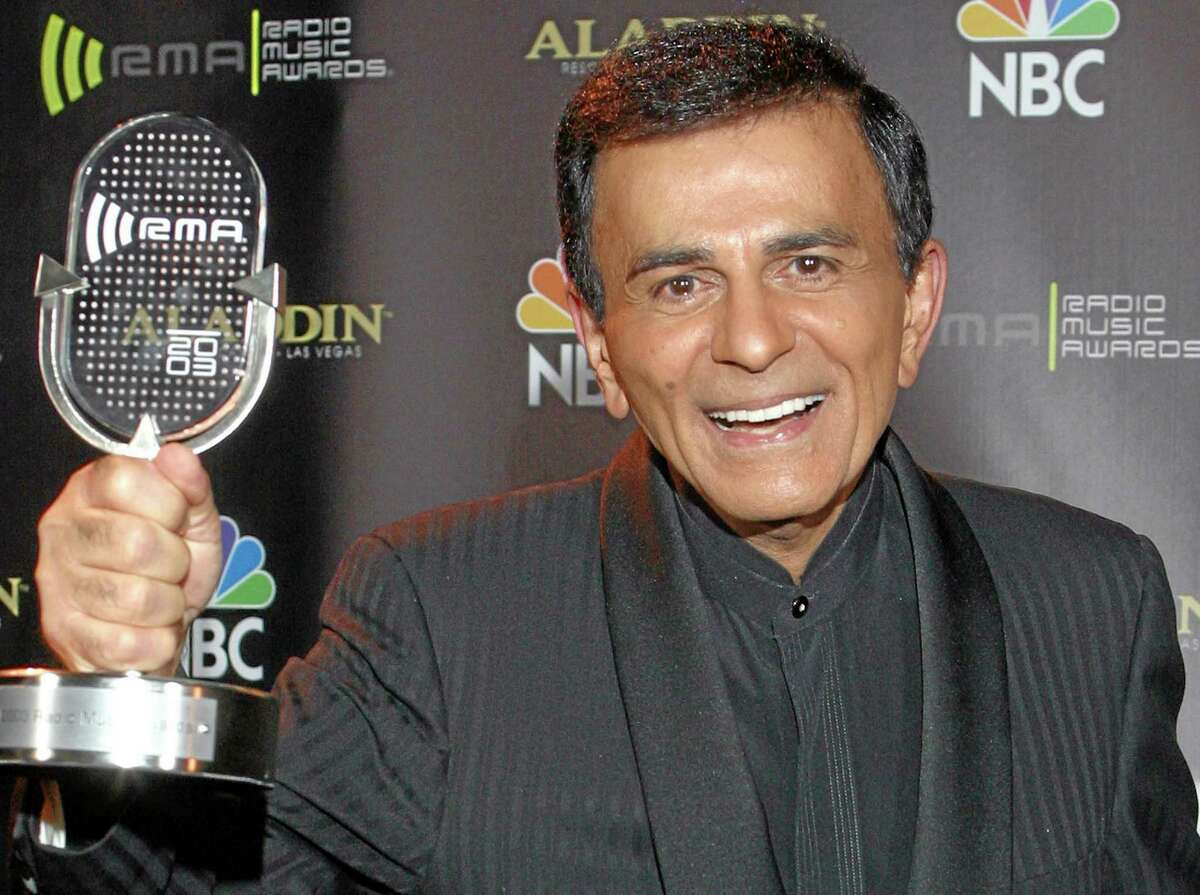 FILE - In this Oct. 27, 2003, file photo, Casey Kasem poses for photographers after receiving the Radio Icon award during The 2003 Radio Music Awards in Las Vegas. A spokesman for Kasem's daughter says the ailing radio personality has been taken by ambulance to a hospital or medical facility in Washington state. Danny Deraney told The Associated Press that Kerri Kasem accompanied her father when an ambulance took him Sunday, June 1, 2014, to receive care. (AP Photo/Eric Jamison, File)