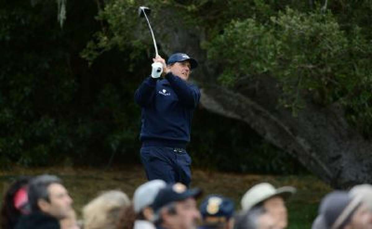 Phil Michelson tees off on the 16th hole during the second round of the AT&T Pebble Beach National Pro-Am in Pebble Beach, Calif., on Friday.