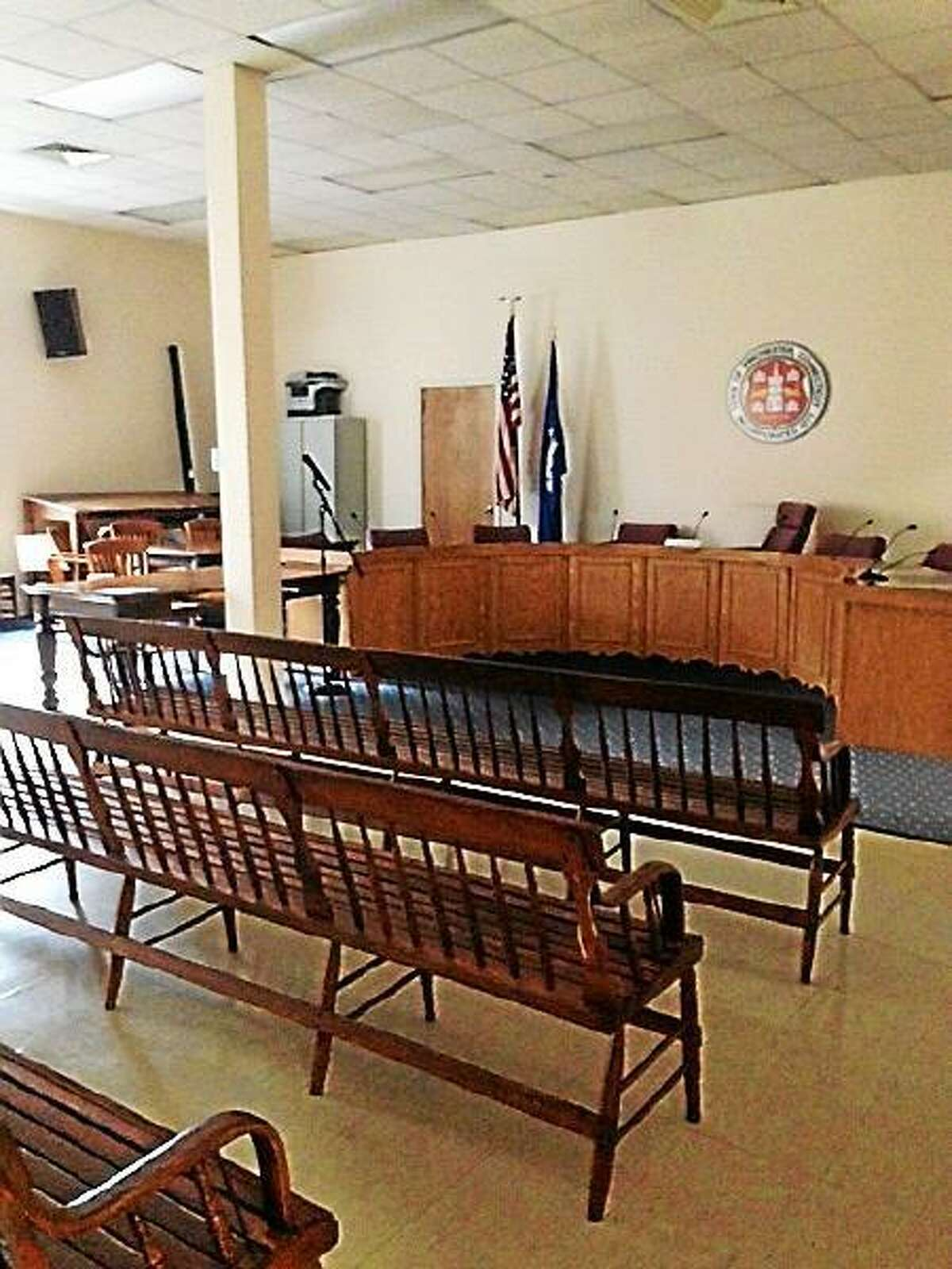 An empty meeting room where Winsted's Water and Sewer Commission had a meeting scheduled July 9 at 7 p.m. (Mercy Quaye-Register Citizen)
