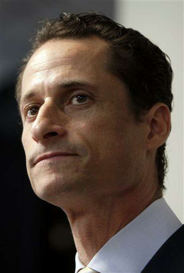 """FILE - In a June 16, 2011 file photo, Anthony Weiner speaks to the media during a news conference in New York. Former U.S. Rep. Weiner, who resigned over a sexting scandal in 2011, says he's weighing a run for New York City mayor this year. The Democrat tells New York Times Magazine  """"it's now or maybe never for me."""" But he acknowledges that it's a long shot because some people """"just don't have room for a second narrative about me.""""He says he doesn't know when he'll decide on entering the race, and concedes he'd be an underdog. (AP Photo/Seth Wenig, File) Photo: AP / AP"""