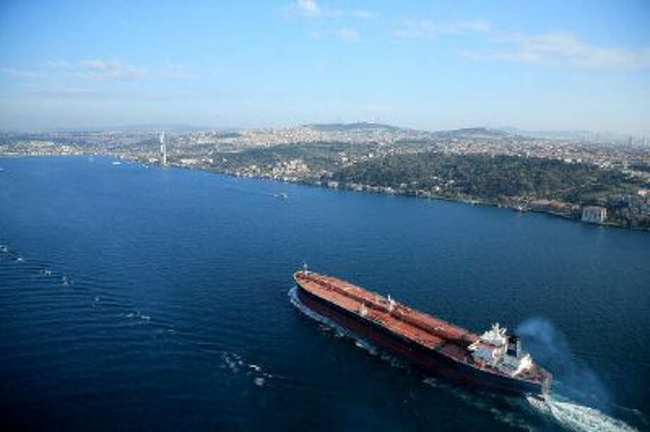 An aerial view of a tanker sailing down the Bosphorus Straits in the City of Istanbul on Nov. 5, 2013 in Istanbul, Turkey. Two men were released Tuesday after being kidnapped from a similar ship off the coast of Nigeria. (David Cannon/Getty Images) Photo: Getty Images / 2013 Getty Images