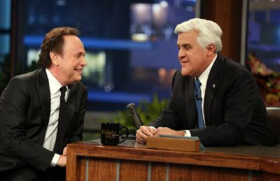 """Jay Leno, right, and Billy Crystal are seen during the final taping of ?Tonight Show with Jay Leno"""", in Burbank, Calif., Thursday, Feb. 6, 2014."""
