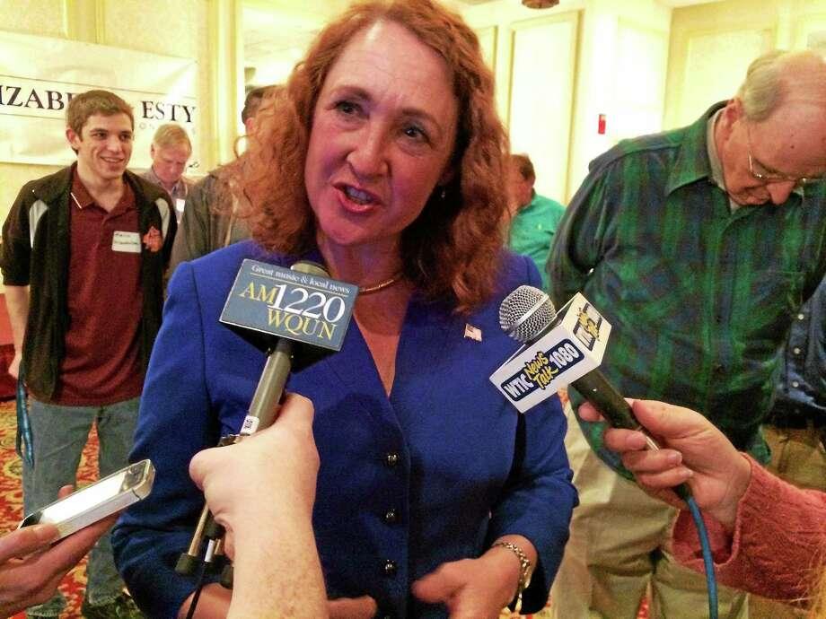 5th District Congresswoman Elizabeth Esty speaks with reporters after her victory speech on Tuesday. Photo: Matt DeRienzo — CTNewsJunkie.com
