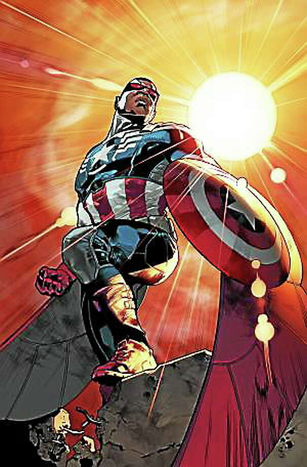 """This photo released by Marvel shows superhero Sam """"The Falcon"""" Wilson. Captain America will be an African-American. Marvel Comics' chief creative officer Joe Quesada says superhero Sam """"The Falcon"""" Wilson will take over as the patriotic Avenger in an upcoming installment of the long-running comic book series. Photo: (Marvel, Via The Associated Press) / Marvel net"""