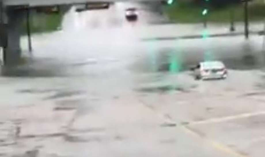 Video posted to Facebook shows two vehicles flooded - one almost completely submerged - by water at the MLK and Franklin Street intersection in Beaumont Sunday, August 27, 2017. The video was posted by FB user Naty Savala. Photo: Facebook