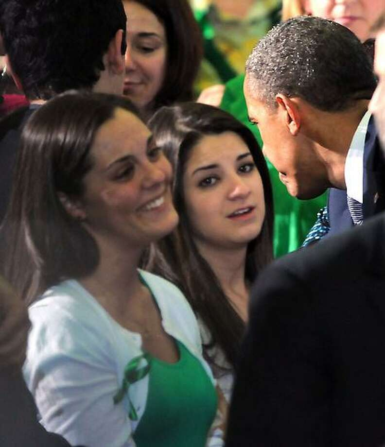 University of Hartford, West Hartford: President Barack Obama met Newtown families, including those of Victoria Soto, after he spoke on gun control. Mara Lavitt/New Haven Register4/8/13