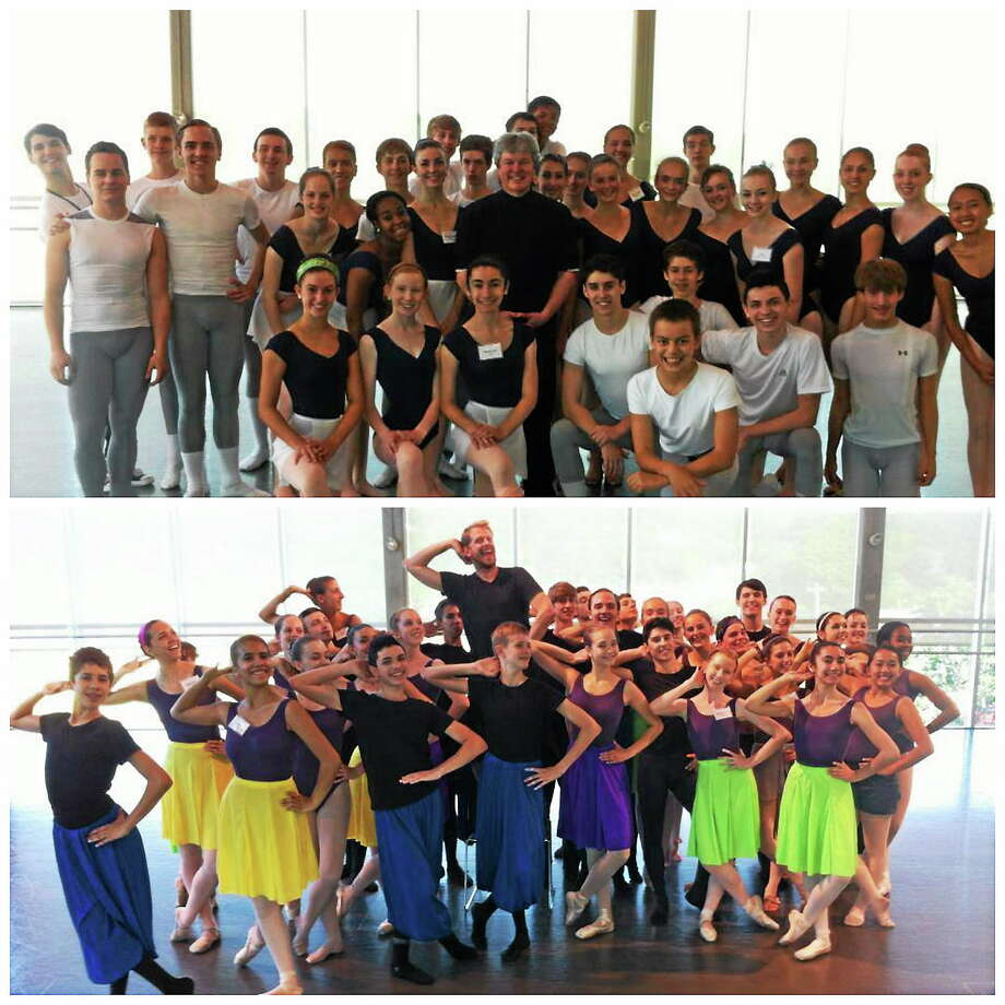 Kim Fazzino, Fazzino Photography Above, Resident Coach & Classical Repertoire Coordinator, Kirk Peterson with students of The Nutmeg Ballet. Below, Guest Artist, Brian Reeder, striking a pose with The Nutmeg Ballet summer trainees. Photo: Journal Register Co.