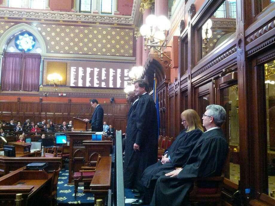 Andrew Roraback, of Goshen, was sworn in as a Superior Court judge in Hartford by Gov. Dannel P. Malloy. HUGH MCQUAID/CTNEWSJUNKIE.COM