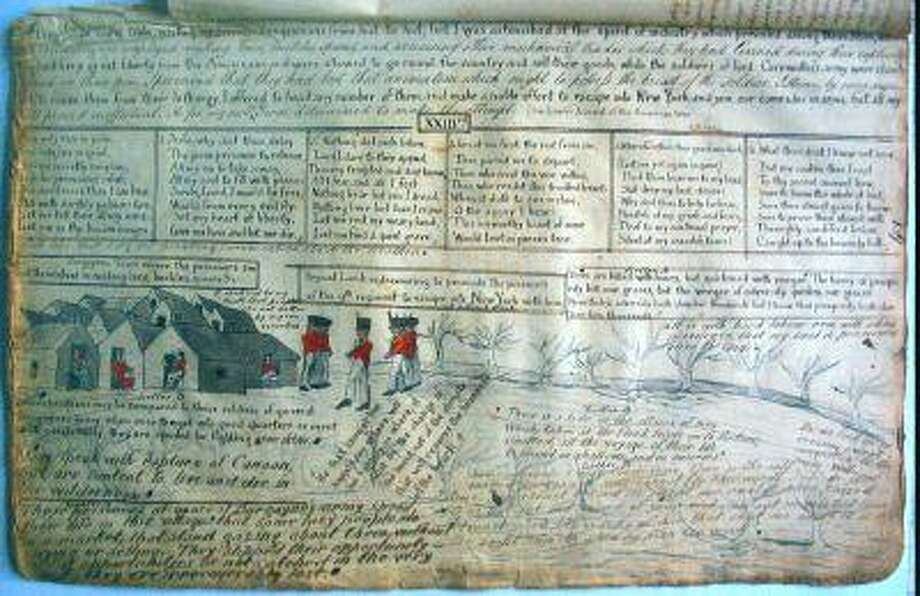 """These photos depict notes and drawings by Sgt. Roger Lamb, an Irish soldier who served with the British during the Revolutionary War and who was a prisoner at Camp Security in Springettsbury Township. The drawings in the manuscript pages depict the camp and show Lamb's escape from it in 1782. Some of tbe notes and writings on these pages wound up verbatim in Lamb's memoir, """"A Journal of Occurrences during the Late American War.""""  Photos courtesy of Friends of Camp Security"""
