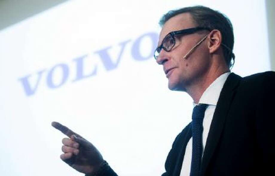 Volvo's CEO Olof Persson gestures during a news conference in Stockholm.