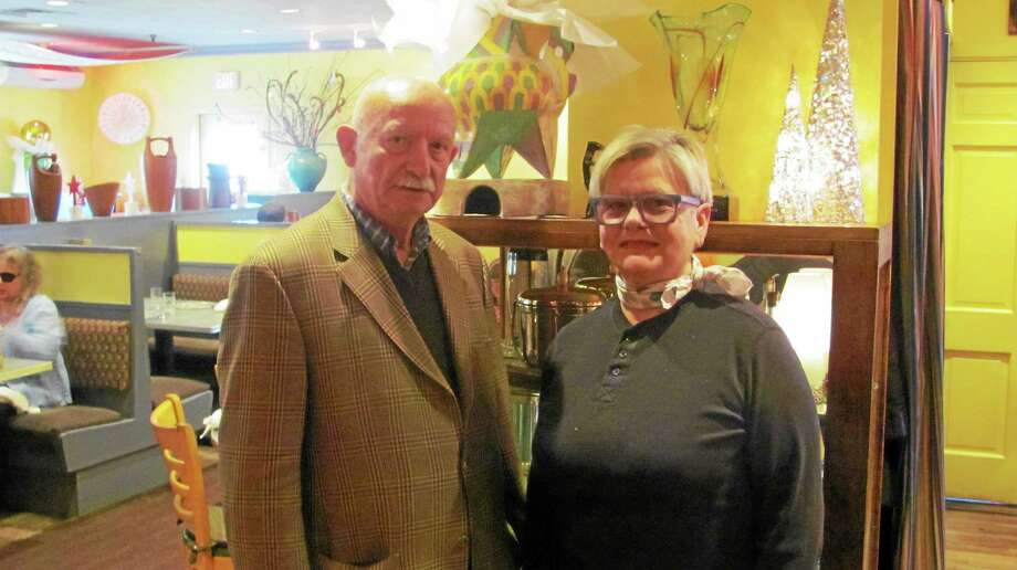 JOHN NESTOR PHOTO Bernard Jarrier and Carole Peck inside the Good News Cafe. Photo: Journal Register Co.