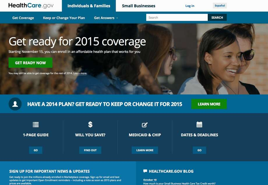 This Oct. 15, 2014 screen shot shows the home page of HealthCare,gov, a federal government website managed by the U.S. Centers for Medicare & Medicaid Service. Photo: AP Photo, File  / U.S. Centers for Medicare & Medicaid Service