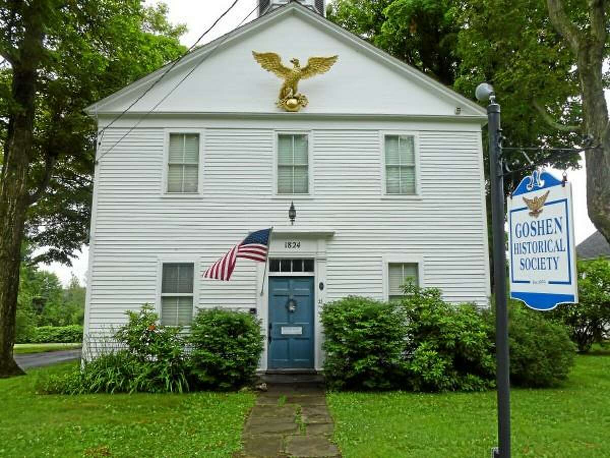 Ryan Flynn - Register Citizen - The Goshen Historical Society has used the academy building since 1955, which is known for the gilded eagle adorning the front, which was created in the 1820's by an unknown artisan.